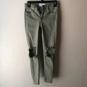Free people olive green busted knee jeans